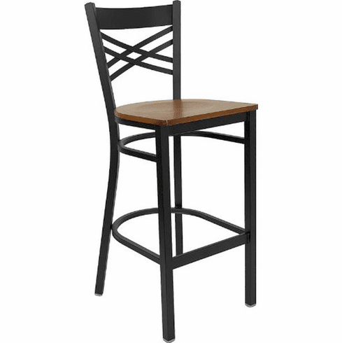 Flash Furniture HERCULES Series Black ''X'' Back Metal Restaurant Bar Stool - Mahogany Wood Seat Model XU-6F8BXBK-BAR-CHYW-GG