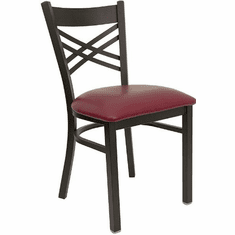 Flash Furniture HERCULES Series Black ''X'' Back Metal Restaurant Chair - Cherry Wood Seat Model XU-6FOBXBK-BURV-GG