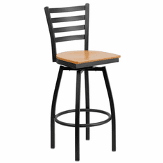 Flash Furniture HERCULES Series Black ''X'' Back Swivel Metal Bar Stool - Black Vinyl Seat Model XU-6F8B-LADSWVL-NATW-GG