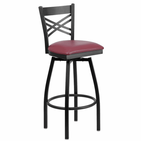 Flash Furniture HERCULES Series Black ''X'' Back Swivel Metal Bar Stool - Cherry Wood Seat Model XU-6F8B-XSWVL-BURV-GG