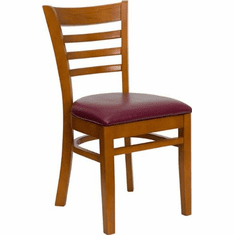 Flash Furniture HERCULES Series Cherry Finished Vertical Slat Back Wooden Restaurant Chair Model XU-DGW0005LAD-CHY-BURV-GG