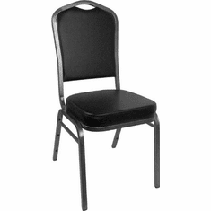 Flash Furniture HERCULES Series Crown Back Stacking Banquet Chair with Burgundy Vinyl and 2.5'' Thick Seat - Silver Vein Frame Model FD-C01-SILVERVEIN-BK-VY-GG