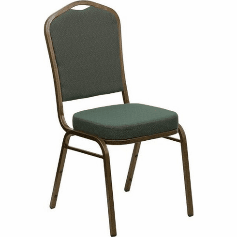 Flash Furniture HERCULES Series Crown Back Stacking Banquet Chair with Navy Blue Patterned Fabric and 2.5'' Thick Seat - Gold Vein Frame, Model FD-C01-GOLDVEIN-0640-GG