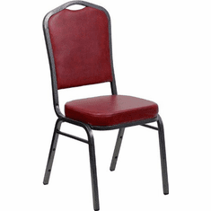 Flash Furniture HERCULES Series Crown Back Stacking Banquet Chair with Red Vinyl and 2.5'' Thick Seat - Silver Vein Frame Model FD-C01-SILVERVEIN-BURG-VY-GG