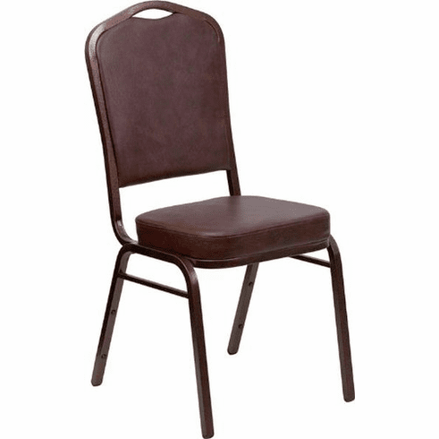 Flash Furniture HERCULES Series Crown Back Stacking Banquet Chair with Tan Vinyl and 2.5'' Thick Seat - Copper Vein Frame Model FD-C01-COPPER-BRN-VY-GG