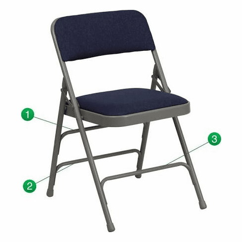 Flash Furniture HERCULES Series Curved Triple Braced & Quad Hinged Navy Fabric Upholstered Metal Folding Chair Model HA-MC309AF-NVY-GG