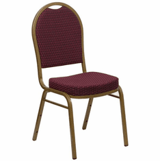 Flash Furniture HERCULES Series Dome Back Stacking Banquet Chair with Beige Patterned Fabric and 2.5'' Thick Seat - Gold Frame, Model FD-C03-ALLGOLD-EFE1679-GG