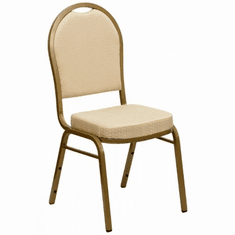 Flash Furniture HERCULES Series Dome Back Stacking Banquet Chair with Navy Patterned Fabric and 2.5'' Thick Seat - Gold Frame Model FD-C03-ALLGOLD-H20124E-GG