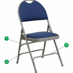 Flash Furniture HERCULES Series Extra Large Ultra-Premium Triple Braced Navy Fabric Metal Folding Chair with Easy-Carry Handle Model HA-MC705AF-3-NVY-GG