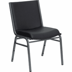 Flash Furniture HERCULES Series Heavy Duty, 3'' Thickly Padded, Black Vinyl Upholstered Stack Chair with Arms Model XU-60153-BK-VYL-GG
