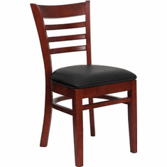 Flash Furniture HERCULES Series Mahogany Finished Ladder Back Wooden Restaurant Chair - Burgundy Vinyl Seat Model XU-DGW0005LAD-MAH-BLKV-GG