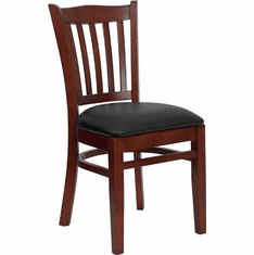 Flash Furniture HERCULES Series Mahogany Finished Vertical Slat Back Wooden Restaurant Chair - Burgundy Vinyl Seat Model XU-DGW0008VRT-MAH-BLKV-GG