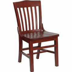 Flash Furniture HERCULES Series Mahogany Finished Vertical Slat Back Wooden Restaurant Chair Model XU-DG-W0006-MAH-GG
