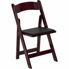 Flash Furniture HERCULES Series Mahogany Wood Folding Chair with Vinyl Padded Seat Model XF-2903-MAH-WOOD-GG