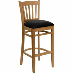 Flash Furniture HERCULES Series Natural Wood Finished Vertical Slat Back Wooden Restaurant Bar Stool - Burgundy Vinyl Seat Model XU-DGW0008BARVRT-NAT-BLKV-GG
