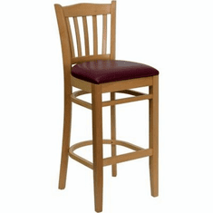 Flash Furniture HERCULES Series Natural Wood Finished Vertical Slat Back Wooden Restaurant Bar Stool Model XU-DGW0008BARVRT-NAT-BURV-GG