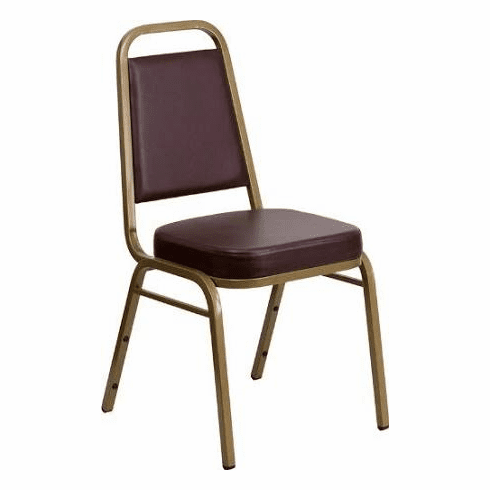 Flash Furniture HERCULES Series Trapezoidal Back Stacking Banquet Chair with Brown Vinyl and 2.5'' Thick Seat - Gold Frame Model FD-BHF-1-ALLGOLD-BK-GG