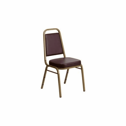 Flash Furniture HERCULES Series Trapezoidal Back Stacking Banquet Chair with Burgundy Vinyl and 2.5'' Thick Seat - Silver Vein Frame Model FD-BHF-1-GG