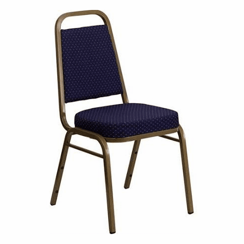 Flash Furniture HERCULES Series Trapezoidal Back Stacking Banquet Chair with Navy Patterned Fabric and 2.5'' Thick Seat - Gold Frame Model FD-BHF-1-ALLGOLD-0847-BY-GG