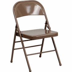 Flash Furniture HERCULES Series Triple Braced & Quad Hinged Beige Metal Folding Chair Model HF3-MC-309AS-BGE-GG