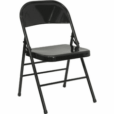 Flash Furniture HERCULES Series Triple Braced & Quad Hinged Black Metal Folding Chair Model HF3-MC-309AS-BK-GG