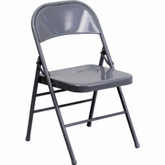 Flash Furniture HERCULES Series Triple Braced & Quad Hinged Gray Metal Folding Chair Model HF3-MC-309AS-GY-GG