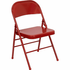 Flash Furniture HERCULES Series Triple Braced & Quad Hinged Red Metal Folding Chair Model HF3-MC-309AS-RED-GG