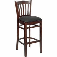 Flash Furniture HERCULES Series Walnut Finished Vertical Slat Back Wooden Restaurant Bar Stool - Burgundy Vinyl Seat Model XU-DGW0008BARVRT-WAL-BLKV-GG