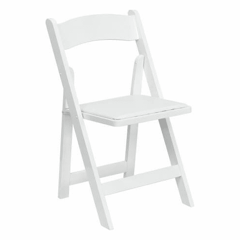 Flash Furniture HERCULES Series White Wood Folding Chair with Vinyl Padded Seat Model XF-2901-WH-WOOD-GG