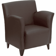 Flash Furniture HERCULES Smart Series Black Leather Reception Chair Model ZB-ROMAN-BROWN-GG