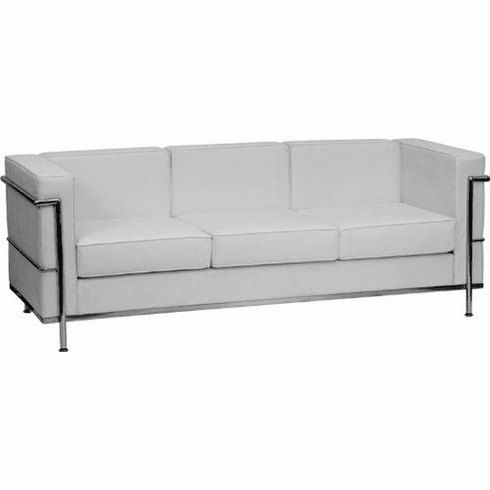 Flash Furniture HERCULES Trinity Series Contemporary Black Leather Sofa  with Stainless Steel Base Model ZB-REGAL-810-3-SOFA-WH-GG