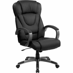 Flash Furniture High Back Black Leather Executive Office Chair, Model BT-9069-BK-GG