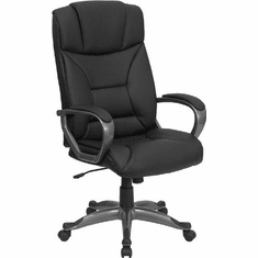 Flash Furniture High Back Black Leather Executive Office Chair, Model BT-9177-BK-GG