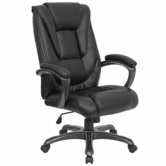 Flash Furniture High Back Black Leather Executive Office Chair, Model GO-7194B-BK-GG