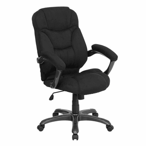 Flash Furniture High Back Black Ribbed Upholstered Leather Executive Office Chair Model GO-725-BK-GG