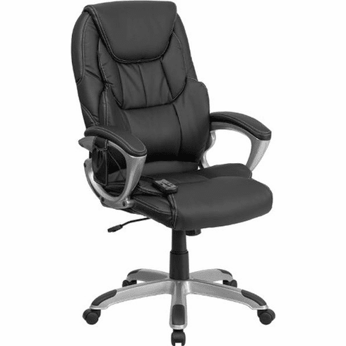 Flash Furniture High Back Traditional Black Leather Executive Swivel Office Chair Model BT-9806HP-2-GG