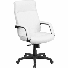 Flash Furniture High Back White Leather Executive Reclining Office Chair Model BT-90033H-WH-GG