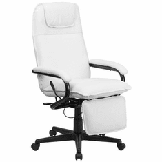 Flash Furniture High Back White Ribbed Upholstered Leather Executive Office Chair Model BT-70172-WH-GG