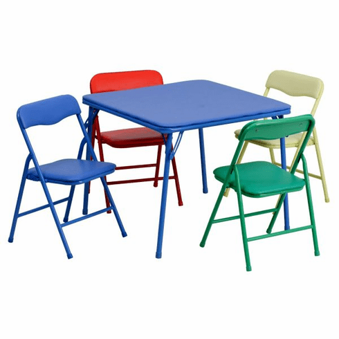 Flash Furniture Kids Colorful 5 Piece Folding Table and Chair Set Model JB-9-KID-GG