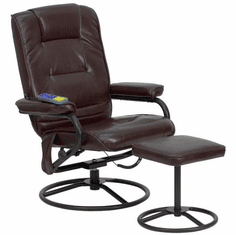 Flash Furniture Massaging Brown Leather Recliner and Ottoman with Metal Bases Model BT-703-MASS-BN-GG