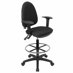 Flash Furniture Mid-Back Black Fabric Multi-Functional Drafting Stool with Arms and Adjustable Lumbar Support Model WL-A654MG-BK-AD-GG