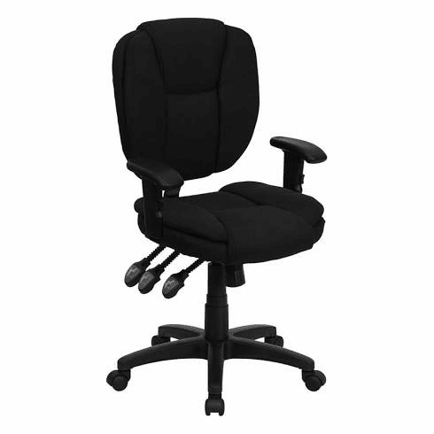 Flash Furniture Mid-Back Black Fabric Multi-Functional Task Chair with Adjustable Lumbar Support Model GO-930F-BK-ARMS-GG