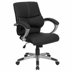 Flash Furniture Mid-Back Black Leather Contemporary Office Chair Model H-9637L-2-MID-GG