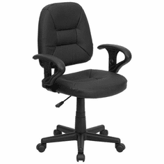 Flash Furniture Mid-Back Black Leather Ergonomic Task Chair with Arms, Model BT-682-BK-GG