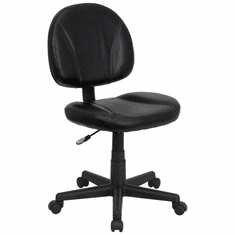 Flash Furniture Mid-Back Black Leather Ergonomic Task Chair with Arms, Model BT-688-BK-GG