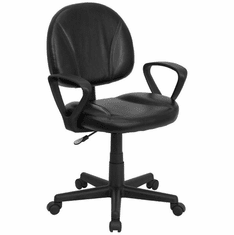 Flash Furniture Mid-Back Black Leather Multi-Functional Ergonomic Task Chair Model BT-688-BK-A-GG