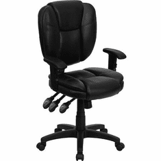 Flash Furniture Mid-Back Black Leather Multi-Functional Ergonomic Task Chair with Arms Model GO-930F-BK-LEA-GG
