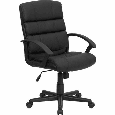 Flash Furniture Mid-Back Black Leather Office Chair, Model GO-1004-BK-LEA-GG