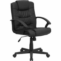 Flash Furniture Mid-Back Black Leather Office Chair, Model GO-937M-BK-LEA-GG