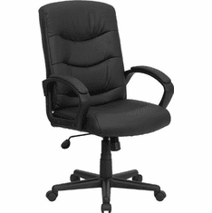 Flash Furniture Mid-Back Black Leather Office Chair, Model GO-977-1-BK-LEA-GG